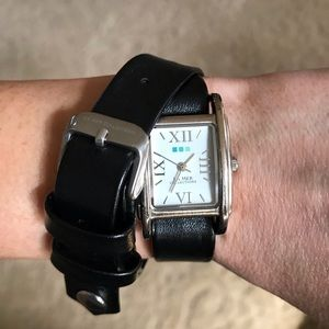La Mer black leather wrap watch bracelet
